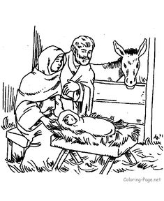 Bible coloring page - Mary, Joseph, Jesus