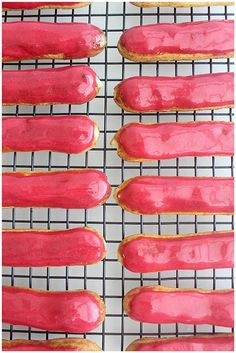 Foodagraphy. By Chelle.: Vanilla Bean Eclairs with Raspberry Glaze