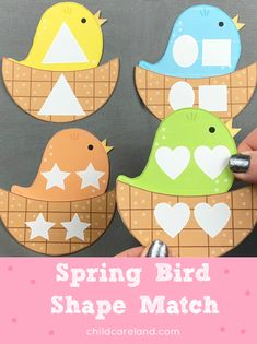 Spring bird shape match for shape recognition and visual discrimination skills. Early Learning Activities, Preschool Games, Classroom Activities, Math Games, Toddler Activities, Preschool Ideas, Shape Matching, Matching Games, File Folder Activities