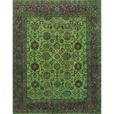 ABC Hand-knotted Lime Green Wool Overdyed Rug (Green), Size 9' x 12'