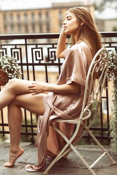 Silk Robe Champagne Beige for morning inspiration , silk lingerie for ideal balcony view