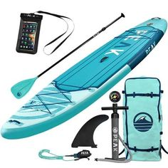 Top Inflatable Stand Up Paddle Board Complete Package Thick) Includes Adjustable Paddle, Journey Backpack, Coil Leash (Aqua) Best Inflatable Paddle Board, Inflatable Kayak, Paddleboard For Sale, Best Paddle Boards, Best Stand Up, Sup Yoga, Standup Paddle Board, Sup Surf, Kayak Fishing