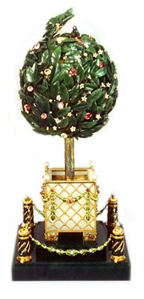 1911 Bay Tree Egg (Orange Tree Egg) was a gift from Nicholas II to Maria Fyodorovna.  IT is made of gold, green and white enamel, nephrite jade, diamonds, rubies, amethysts, citrines, pearls and white onyx. It is currently at The Link of Times Foundation, Russia.