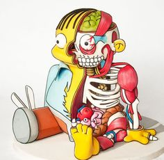 The Simpsons cake - Based on an illustration by Eric Flores, The Simpsons cake is a delicious interpretation of Ralph Wiggum if he was partially dissecte. The Simpsons, Bolo Simpsons, Cartoon Cartoon, Cartoon Cakes, Los Simsons, Ralph Wiggum, Cake Competition, Realistic Cakes, Simpsons Characters