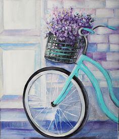 Купить Картина маслом Велосипед - картина, картина в гостиную, картина в подарок, светлая картина
