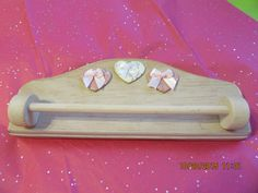 Towel Rack Heart Wooden Pink White Washed Wooden Towel Bar