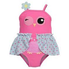 Toddler Girls' 1-Piece Owl Swimsuit - Pink