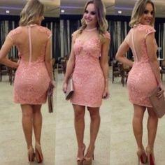 Pink Sheath Column Cocktail Party Dress With Lace Applique Cap Sleeve Vestidos De Festa Curtos Noite Mini Length