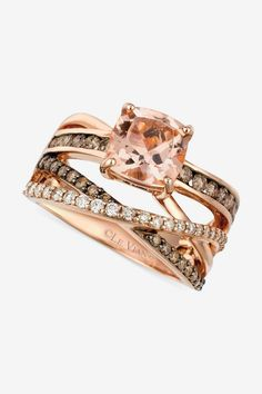 Le Vian Morganite (1-3/4 ct. t.w.) and Diamond (3/4 ct. t.w.) Ring in 14k Rose Gold #sponsored