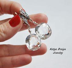 """Купить Серьги """"Ice """" - серебряный, украшения серьги, katya design, серьги в подарок"""