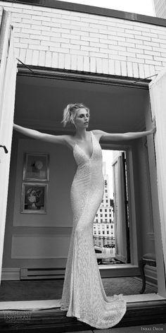 inbal dror 2016 wedding dress with sleeveless strap v neck sheath wedding dress heavily beaded style 09 mv