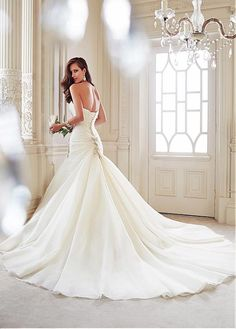 Gorgeous Organza Satin Mermaid Sweetheart Neckline Natural Waistline Wedding Dress With Beaded Lace Applliques