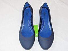 Womens crocs Lina Wedge Pump shoe W 8 W8 Standard Fit Navy Blue 203408 NWT #Crocs #Wedge