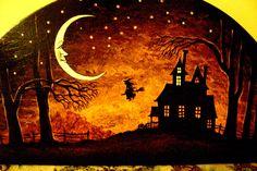 Halloween Art Paintings | Original OOAK HP Halloween Painting RYTA Vintage Style Art Witch ...