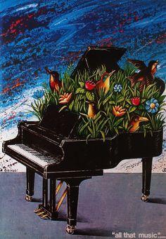 All that music...,   Original Polish poster,   designer: Rafal Olbinski,   year: 1978.