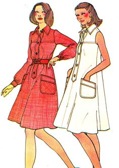 1970s Dress Pattern McCalls 3931 Womens Yoked Shirtdress Belted Tent Dress Plus Size Vintage Sewing Pattern Bust 40 Uncut