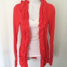 Drapey Ruffle Lightweight Open Cardigan Soft, lightweight cardigan in a gorgeous salmon red color. Cardigan has an open front, layered  ruffles along the front and neckline as well as draped pockets and gathered long sleeves. Worn once and in perfect condition. Piperlime Tops Tunics