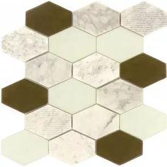 Anthracite Geo Hexagon Glass & Stone Tile