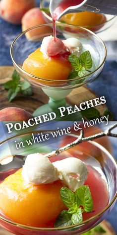 The flavors of cinnamon cardamom and allspice infuse these Moscato wine and honey poached peaches creating a simple and elegant summer dessert. Serve the peaches with their spiced syrup over cake with ice cream or with a dollop of mascarpone. Summer Desserts, Just Desserts, Summer Recipes, Fruit Recipes, Wine Recipes, Dessert Recipes, B Recipe, Recipe Using, Recipe Ideas