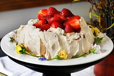 Peter Gordon's Mum Timmy's Pavlova with Vanilla Honey Yoghurt Cream & Strawberry Compote -- You can make the pavlova up to 3 days before you need it & store on a plate covered with foil. Make sure you don't put the cream & strawberries on any longer than 3 hours before you're going to eat it as it'll go soggy.