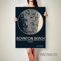 BOYNTON BEACH Florida CANVAS Map Boynton Beach by ArchTravel