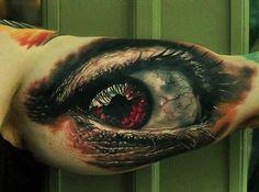 New Eye Tattoo Realistic Red Ideas 3d Tattoos, Cool Tattoos, Tatoos, Awesome Tattoos, Eye Tattoo On Arm, Iris Drawing, Eye Sketch, Arm Art, Eye Makeup Steps