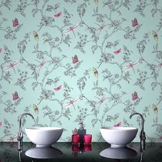 Vintage Shabby Chic Floral Butterflies Dragonflies Wallpaper Duck Egg