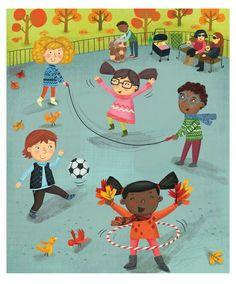 New York Fall Park Scene, Kids Print, Gender Neutral Nursery, NY Park Printable, Neutral Nursery Art Whimsical Nursery, Whimsical Art, Nursery Art, Scene Kids, Color Activities, Kids Prints, Children's Book Illustration, Clipart, Kids Playing