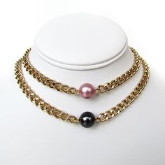 Gold Swarovski Pearl Choker / Classic Chain Necklace / Curb Chain / Gold Plated / White / Pink / Holographic / Jewelry / Stacking  Add one (or more!) of these Swarovski Pearl Chokers to your Stackable Sweets collection! These classy necklaces add a touch of sophistication to your neck candy. Choose a neutral color or go a bit bolder with the multi-color pearls. The pearls (12mm around) are attached to gold plated steel chain, and are closed with a large...