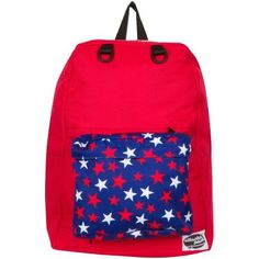 Henley Red Backpack with Red and White Stars Pocket by AttachaPack  #backtoschool