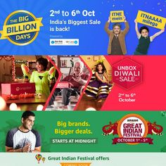 Dussehra Festival Deals are going to be more blast with Flipkart Big Billion Days, Amazon Great Indian Sale and Snapdeal Unbox Diwali Sale from 1st to 6th October.