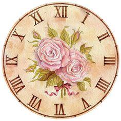 Cd Crafts, Flower Crafts, Wall Clock Dial, Clock Face Printable, Victorian Clocks, Paper Clock, Shabby Chic Clock, Clock Flower, Diy Clock