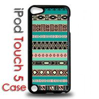 iPod Touch 5 - 5th gen Black Plastic Case - Aztec Pattern Print Trendy Tribal