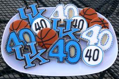 Decorated cookie platter for a friend's hubby who turned 40...UK, University of Kentucky, basketball, Cats, Wildcats, hoops www.facebook.com/cookiesbycharity
