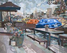 Title: The rain wheels in the sky 2013, Medium: Acrylic paint on canvas, Size: 122cm x 153cm #rain #sky #cars #art #painting #ContemporaryArt #AustralianArt #artist #Melbourne #urbanscape #urban #streetlife #RovayArt #Rovay