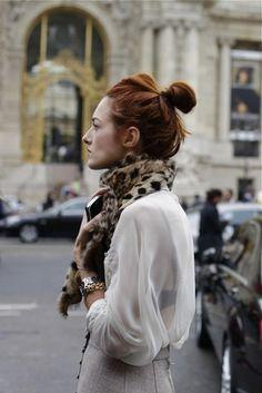 Sheer shirt, leopard scarf, bun
