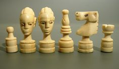 Chess set, Belgian Congo, Africa ca. From the Kloprogge collection. Belgian Congo, Chess Set Unique, Chess Pieces, World Cultures, Wood Carving, Old And New, Diy Gifts, Art Reference, Chess Boards