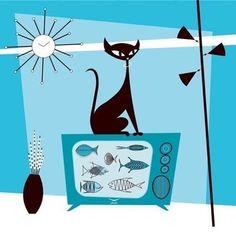 Fish TV Black Cat Giclee Print Cat Lover Cat Wall Art Cat Decor Atomic Cat TV Pet Lover Gift Illustration Original MCM Cat Modern Mod Cat - Random older things. Mid Century Modern Art, Mid Century Art, Gifts For Pet Lovers, Cat Lovers, Gatos Cat, Cat Decor, Cat Wall, Vintage Design, Vintage Style