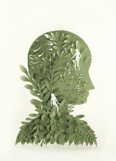 lesson idea - low relief paper-cut silhuette self-portrait - image: Elsa Mora Paper Art - would do with yr 9-10