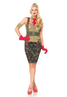 Army Pin Up Girl Costume. I love that this website has a fit finder that tells you which size in each costume to buy.