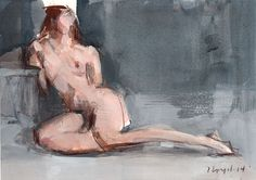 Original Nude Figure Painting Sketch