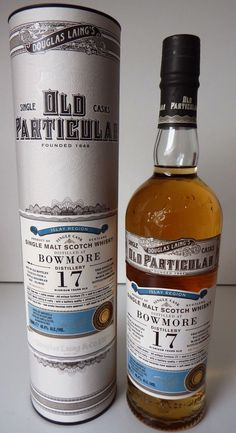Bowmore 17 Year Old 1996 - Old Particular (Douglas Laing) A sooty 17 year old Bowmore here from Douglas Laing's particularly good old Particular range. 312 bottles of this Islay whisky were produced from a single hogshead.