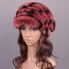 48.00$  Buy here - http://virmm.justgood.pw/vig/item.php?t=2iqbws45339 - Red Women Knitted Rex Rabbit Fur Flat fur Hats Winter Hat Winter Cap Fashion Cap