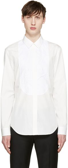 Maison Margiela - White Crinkled Panel Tuxedo Shirt