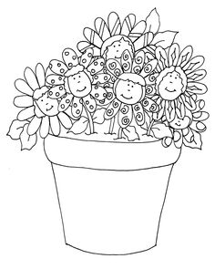 Free Dearie Dolls Digi Stamps: Pot of Flower Dearies ...here is one for the kids to color