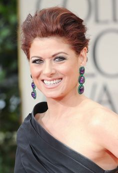 Debra Messing - emerald and amethyst earrings by Lorraine Schwartz - 2012 Golden Globes Golden Globe Award, Golden Globes, Wedding Hair And Makeup, Hair Makeup, Globe Picture, Debra Messing, The Violet, Celebrity Jewelry, Celebrity Red Carpet