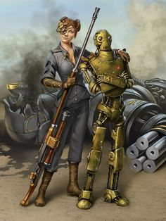 Steampunk its more than an aesthetic style, it's the longing for the past that never was. In Steampunk Girls we display professional pictures, and illustrations of Steampunk, Dieselpunk and other anachronistic 'punks. Robots Steampunk, Steampunk Characters, Steampunk Artwork, Sci Fi Characters, Gothic Steampunk, Steampunk Wallpaper, Steampunk Airship, Steampunk Fashion, Cyberpunk