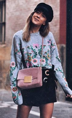 fashionable outfit idea : hat + bag + embroidered sweatshirt + skirt - https://sorihe.com/test/2018/03/04/fashionable-outfit-idea-hat-bag-embroidered-sweatshirt-skirt/ #Dresses #Blouses&Shirts #Hoodies&Sweatshirts #Sweaters #Jackets&Coats #Accessories #Bottoms #Skirts #Pants&Capris #Leggings #Jeans #Shorts #Rompers #Tops&Tees #T-Shirts #Camis #TankTops #Jumpsuits #Bodysuits #Bags