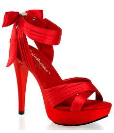 Red Satin Cross Strap Fabulicious Sandal Heels - Unique Vintage - Prom dresses, retro dresses, retro swimsuits.