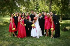 Pink, burnt orange and a dash of yellow wedding colors